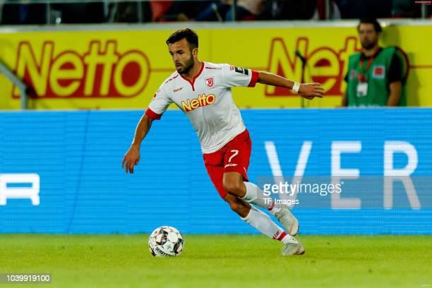 Albion Vrenezi of Jahn Regensburg controls the ball during the Second Bundesliga match between SSV Jahn Regensburg and SG Dynamo Dresden on September...