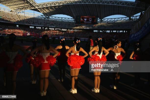 Albirex Niigata cheer leaders line up prior to perform before the J.League J1 match between Albirex Niigata and Omiya Ardija at Denka Big Swan...