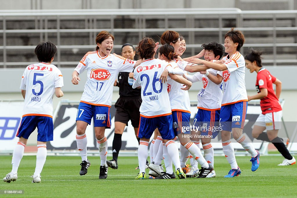 Albirex Niigata players celebrate a goal during the Nadeshiko League match between Urawa Red Diamonds Ladies and Albirex Niigata Ladies at the Saitama Komaba Stadium on April 3, 2016 in Saitama, Japan.