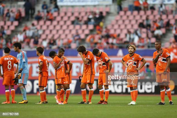 Albirex Niigata players show dejectiom after their 02 defeat in the JLeague J1 match between Albirex Niigata and Vissel Kobe at Denka Big Swan...