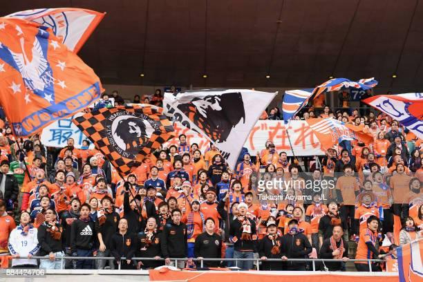 Albirex Niigata supporters cheer prior to the J.League J1 match between Albirex Niigata and Cerezo Osaka at Denka Big Swan Stadium on December 2,...