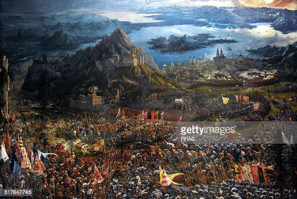 Albrecht Altdorfer . German artist, member of the Danube School. The Batlle of Alexander at Issus, 1529. It portrays the 330 BC Batlle of Issus, in...
