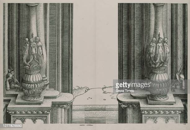 Albrecht Dürer, The Middle Section of the Entryway to the Central Portal, the Columns Decorated by Sirens and Sleeping Soldiers Behind, from the Arch...