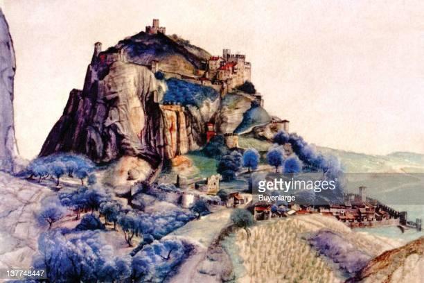 Albrecht Durer's Fortress on a large hillside cliff 1500