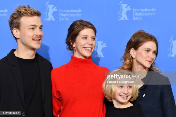 Albrecht Schuch Nora Fingscheidt Helena Zengel and Lisa Hagmeister pose at the System Crasher photocall during the 69th Berlinale International Film...
