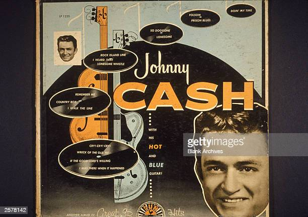 Album cover art for 'Johnny Cash With His Hot and Blue Guitar' an LP released on Sun Records 1957