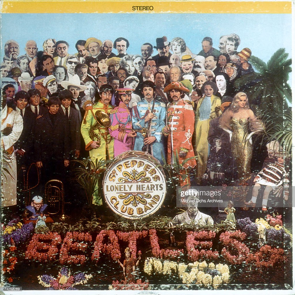Album cover designed by art director Robert Fraser for rock and roll band 'The Beatles' album entitled 'Sgt. Pepper's Lonely Hearts Club Band' which was released on June 1, 1967.