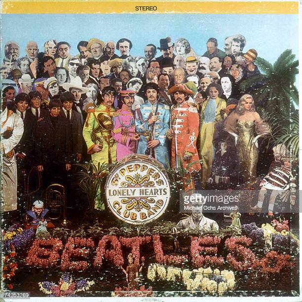 "Album cover designed by art director Robert Fraser for rock and roll band ""The Beatles"" album entitled ""Sgt. Pepper's Lonely Hearts Club Band"" which..."