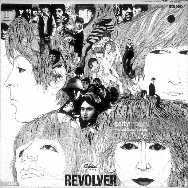 Album cover designed by artist Klaus Voorman for rock and roll band The Beatles album entitled Revolver which was released on August 6 1966