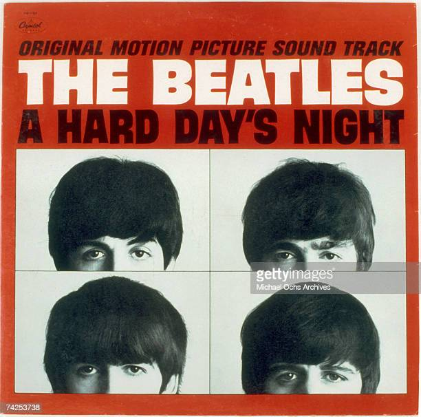 Album cover for rock and roll band The Beatles album entitled A Hard Day's Night which was released on July 10 1964 George Harrison Paul McCartney...