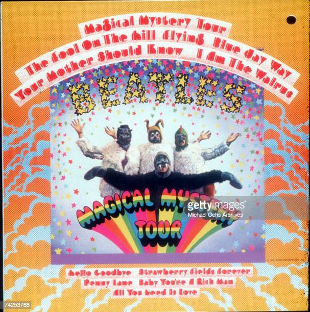 Album cover for rock and roll band The Beatles record Magical Mystery Tour which was released on November 27 1967