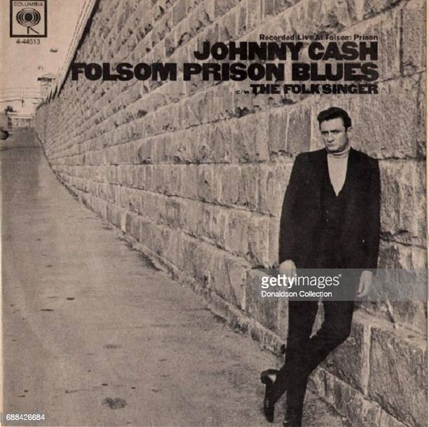 """Album cover for the Johnny Cash 7 inch record """"Recorded Live at Folsom Prison, Folsom Prison Blues, The Folk Singer"""" and released on April 30, 1968..."""