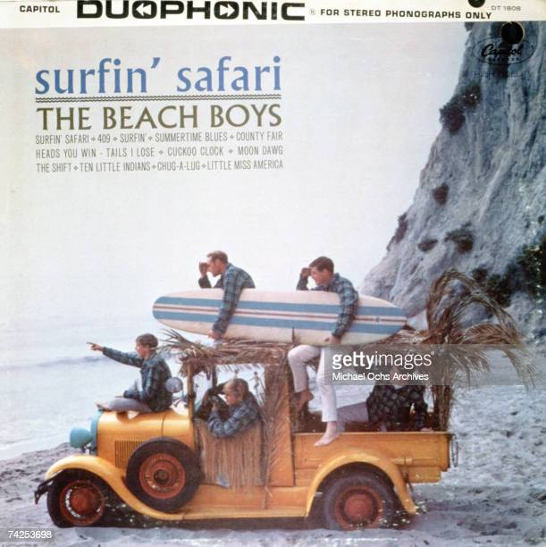 """Album cover for the release of the rock and roll band """"The Beach Boys"""" album """"Surfin' Safari"""" which was released on August 11, 1962. Clockwise from..."""