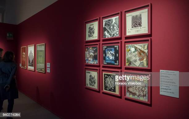 Album covers and advertising inspired by Dutch artist Maurits Cornelis Escher at the Museu de Arte Popular on March 30 2018 in Lisbon Portugal This...
