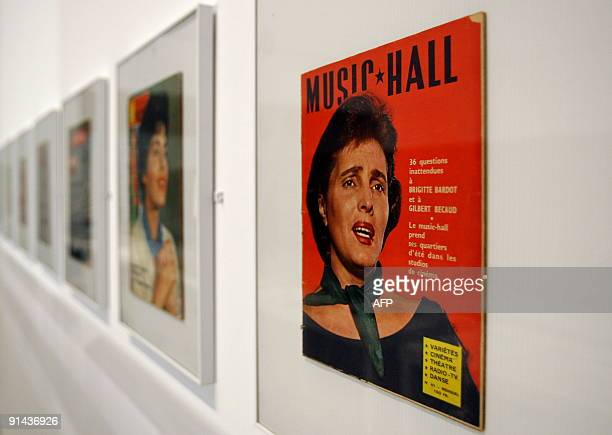 Album covers of late fado singer Amalia Rodrigues hang on October 1 2009 at the Centro Cultural de Belem in Lisbon The Museum Berardo in preparing an...