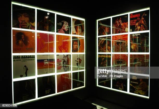 Album covers on display at the press preview for the exhibition Jimi At The Marquee featuring the world's largest collection of Jimi Hendrix...