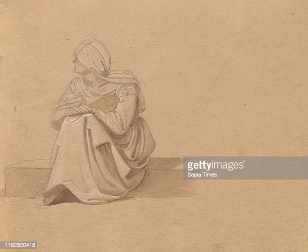 Album with Views of Rome and Surroundings Landscape Studies page 19a Seated Female Figure Franz Johann Heinrich Nadorp Graphite and brown wash with...