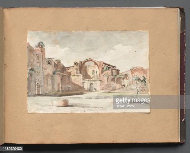 Album with Views of Rome and Surroundings Landscape Studies page 22a 'Terme di Diocleziano Rome' Franz Johann Heinrich Nadorp Watercolor with...