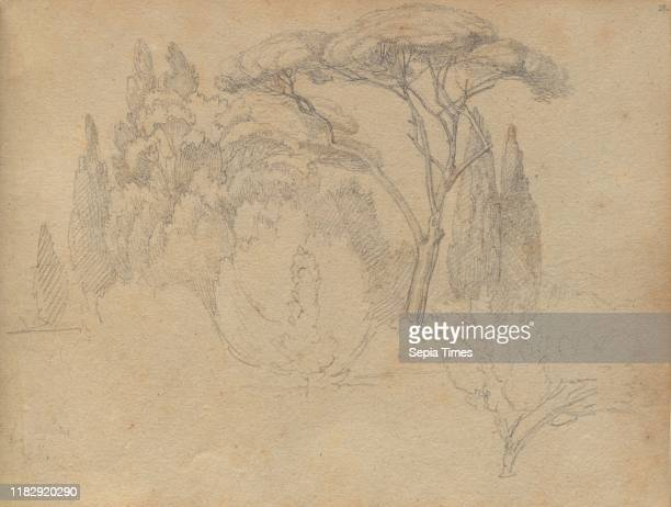 Album with Views of Rome and Surroundings Landscape Studies page 29a Landscape Study Franz Johann Heinrich Nadorp Graphite on brown paper