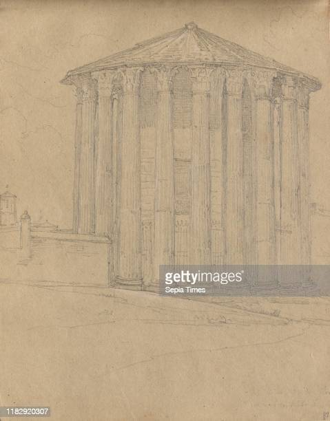 Album with Views of Rome and Surroundings Landscape Studies page 32a Roman Temple Franz Johann Heinrich Nadorp Graphite on brown paper