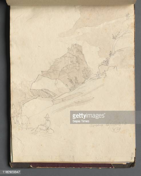Album with Views of Rome and Surroundings Landscape Studies page 33a 'Cervera' Franz Johann Heinrich Nadorp Graphite on brown paper