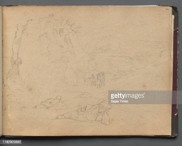Album with Views of Rome and Surroundings Landscape Studies page 44a Figures in a Landscape Franz Johann Heinrich Nadorp Graphite on brown paper