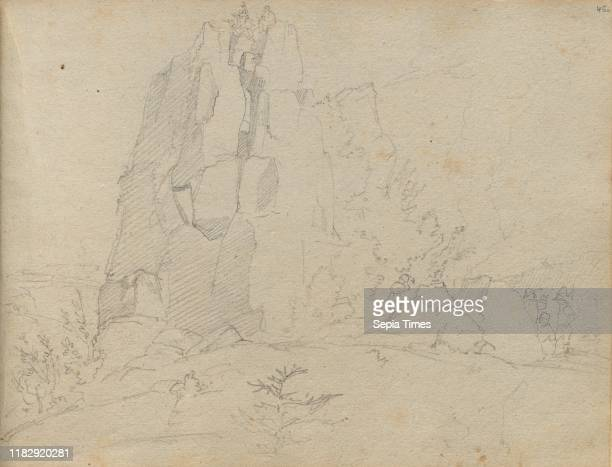 Album with Views of Rome and Surroundings Landscape Studies page 45a Rocky Landscape Franz Johann Heinrich Nadorp Graphite on brown paper