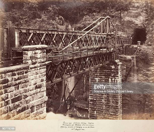 Albumen photograph by Lawton & Scowen, one of a series depicting the construction of various railway bridges in Ceylon between 1878 and 1883. This...