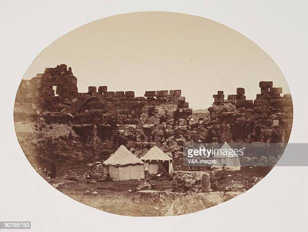 Albumen print 'Baalbeck Our encampment within the Walls' Dimensions 146 x 198cm