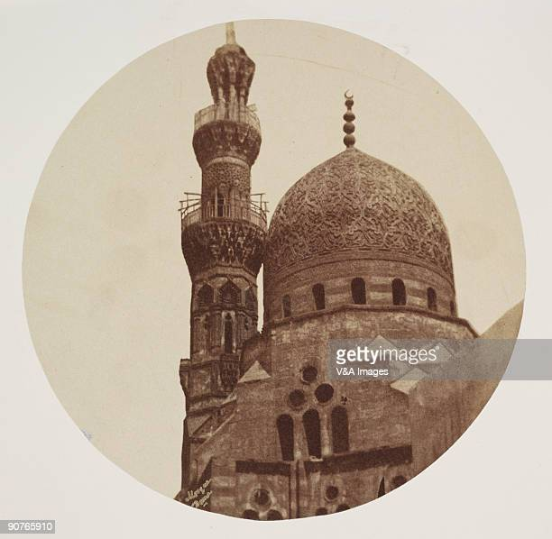 Albumen print of 'The carved dome of a mosque and minaret' Dimensions 167 x 167cm
