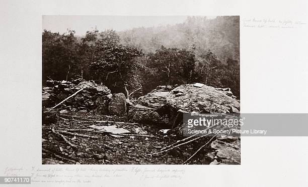 Albumen print of the Union defensive position at Little Round Top on the battlefield at Gettysburg in Pennsylvania USA by Alexander Gardener from a...