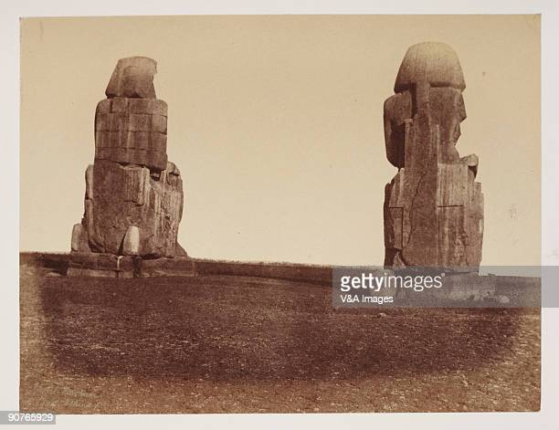 Albumen print of 'Valley of the Nile The Vocal Memnon and its fellow at Early dawn when the sun first strikes the statues they are declared to issue...