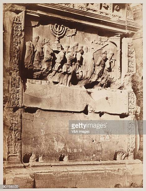 'ITALY DECEMBER 19 Albumen print Photograph by Robert Macpherson Carved stone detail showing the carrying away of spoils from the Sack of Jerusalem A...