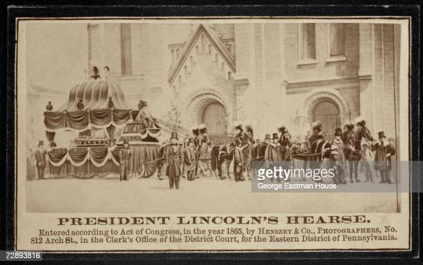 Albumen print shows a commemorative view of American President Abraham Lincoln's hearse and funeral procession mid 1865 The image was created by Act...