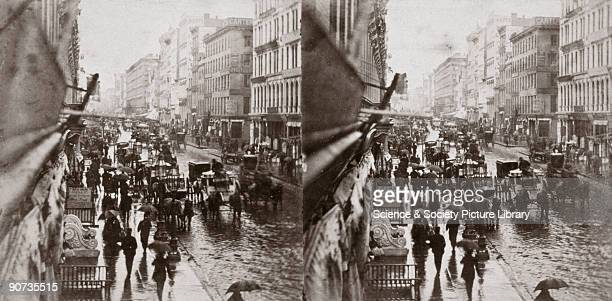 Albumen printed stereocard photography by EH and TC Anthony showing a stereoscopic view of Broadway on a rainy day Since the 1890s Broadway has...