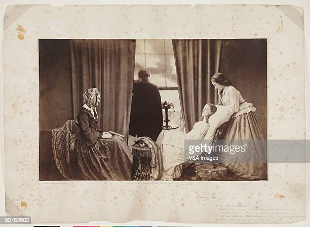 Albumen silver print by Henry Peach Robinson showing a young girl on her deathbed surrounded by her family Robinson is noted for his combination...