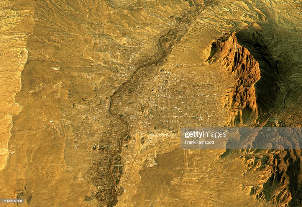 Albuquerque 3D Landscape View South-North Natural Color : Stock Photo