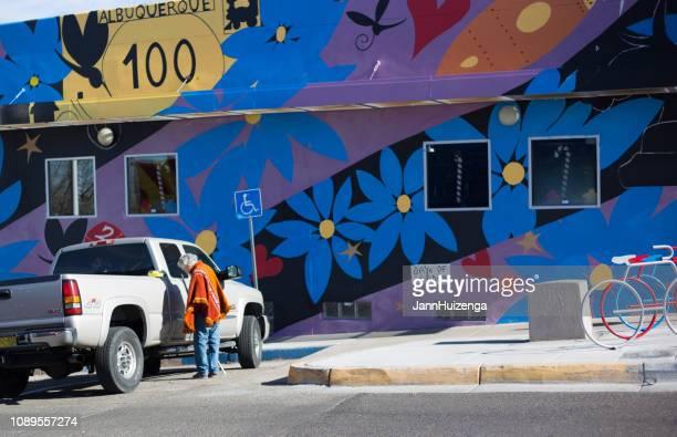 Albuquerque, NM: Man in Poncho in Nob Hill