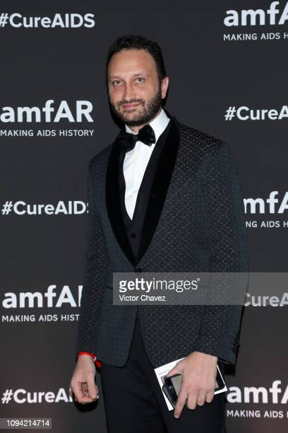 Alby Canilla poses during the amfAR gala dinner at the house of collector and museum patron Eugenio López on February 5 2019 in Mexico City Mexico