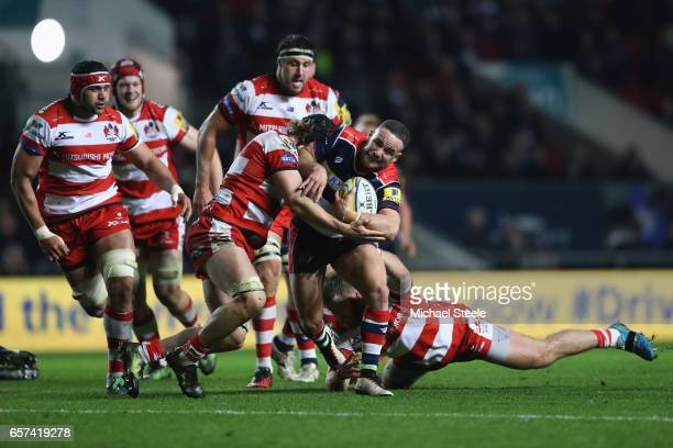 Alby Mathewson of Bristol is tackled by Billy Twelvetrees of Gloucester during the Aviva Premiership match between Bristol Rugby and Gloucester Rugby...