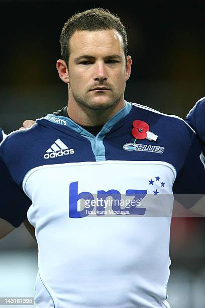 Alby Mathewson of the Blues lines up before the round nine Super Rugby match between the Highlanders and the Blues at Forsyth Barr Stadium on April...