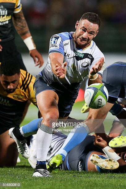 Alby Mathewson of the Force passes during the round four Super Rugby match between the Hurricanes and the Force on March 18 2016 in Palmerston North...