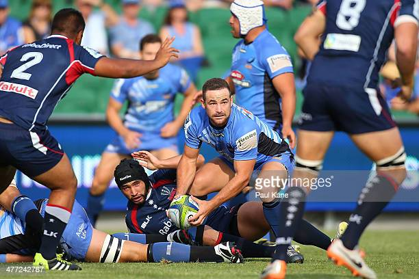 Alby Mathewson of the Force passes the ball during the round four Super Rugby match between the Western Force and the Melbourne Rebels at nib Stadium...