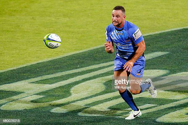 Alby Mathewson of the Force passes the ball during the round six Super Rugby match between the Force and the Chiefs at nib Stadium on March 22 2014...