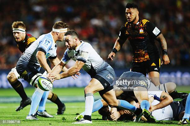 Alby Mathewson of the Force passes the ball out during the round five Super Rugby match between the Chiefs and the Western Force at FMG Stadium on...