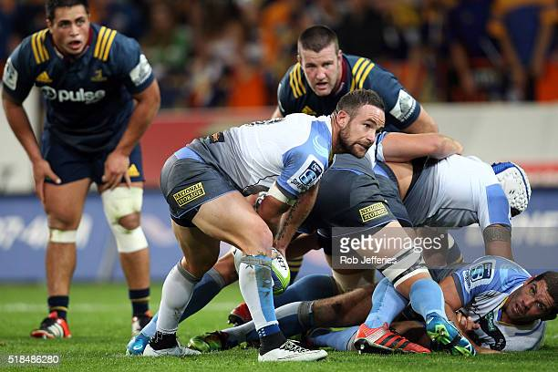 Alby Mathewson of the Western Force looks to pass the ball during the round six Super Rugby match between the Highlanders and the Western Force at...