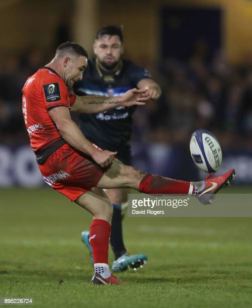 Alby Mathewson of Toulon kicks the ball upfield during the European Rugby Champions Cup match between Bath Rugby and RC Toulon at the Recreation...