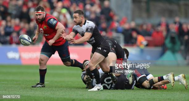 Alby Mathewson of Toulon passes the ball during the European Rugby Champions Cup match between Munster Rugby and RC Toulon at Thomond Park on March...