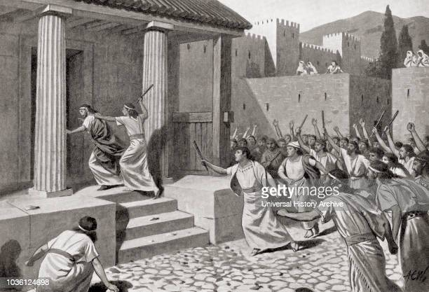 Alcander a young man of Sparta attacking Lycurgus and stabbing out one of his eyes when his fellowcitizens were discontented with the laws Lycurgus...