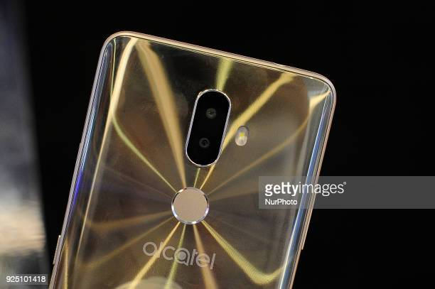 Alcatel 3V at Alcatel stand during the Mobile World Congress Day 2 on February 27 2018 in Barcelona Spain